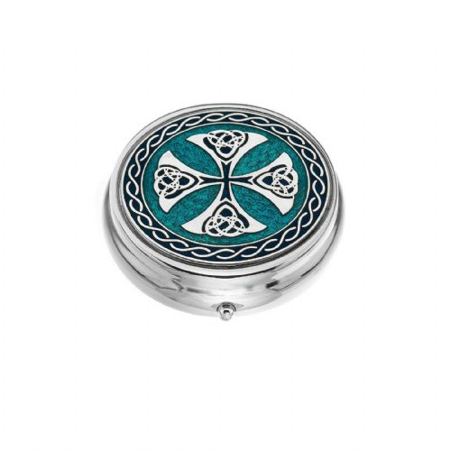 Large Pill Box Silver Plated Celtic Cross Blue Brand New & Boxed